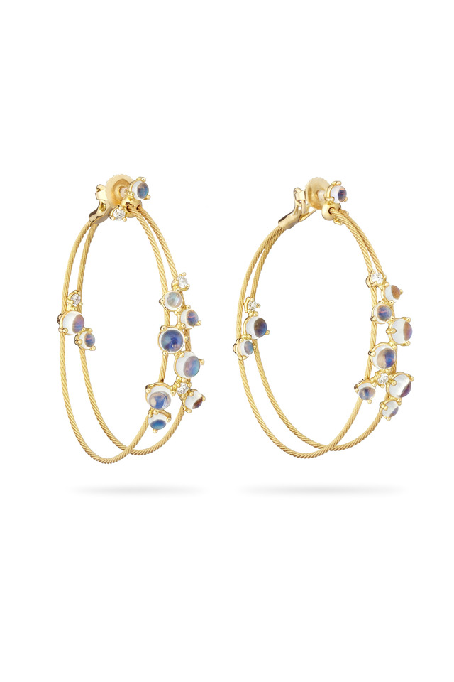 Gold Double Wire Bubble Moonstone Hoop Earrings