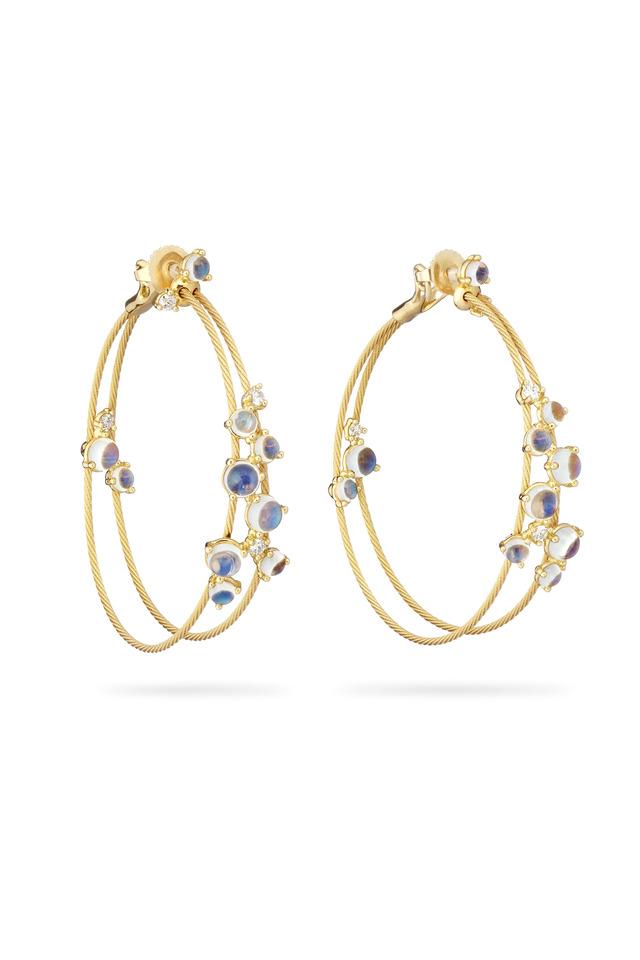 Gold Double Wire Bubble Moonstone Hoop Earrings