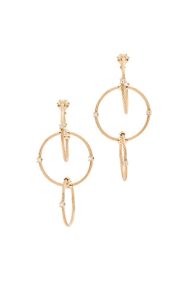 18K Yellow Gold Diamond Triple Wire Hoops
