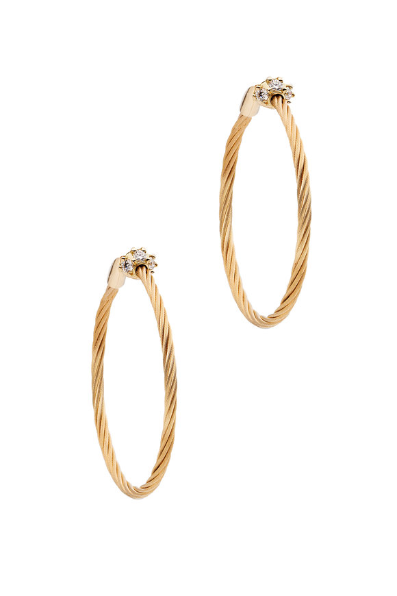 Paul Morelli 18K Yellow Gold Diamond Wire Hoops