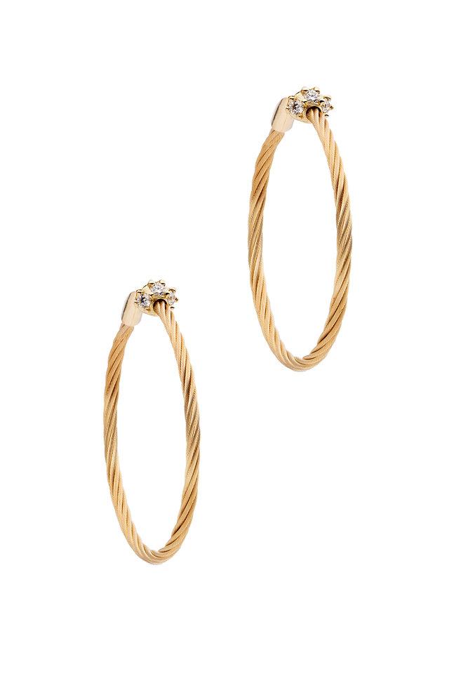 18K Yellow Gold Diamond Wire Hoops