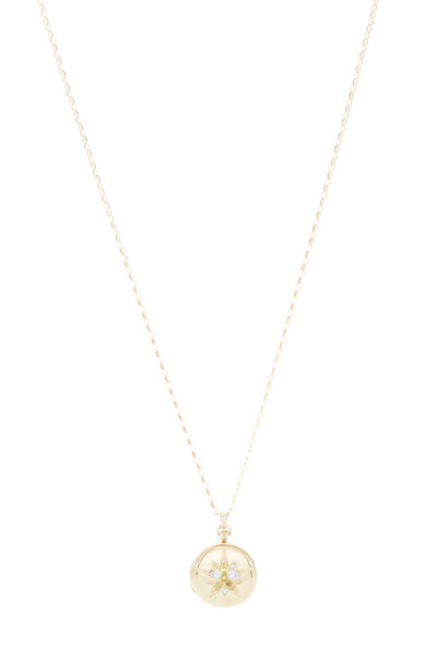 Monica Rich Kosann - 18K Yellow Gold Sapphire Star Locket Necklace