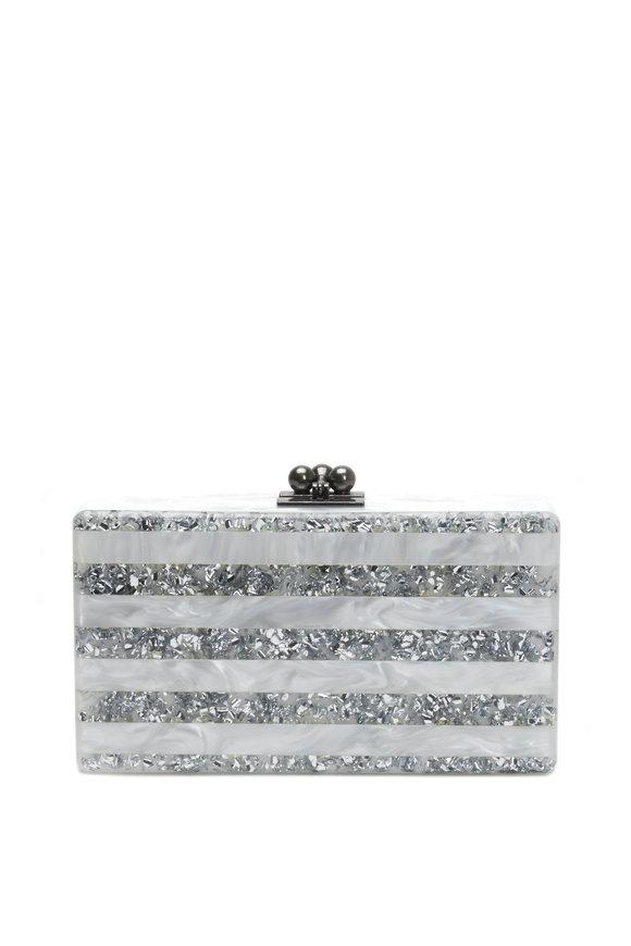 Edie Parker Jean White & Glitter Silver Stripe Acrylic Clutch