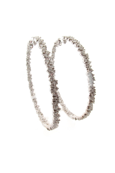 Paul Morelli - White Gold Diamond Confetti Hoop Earrings
