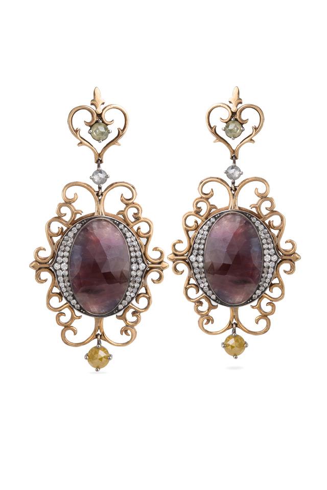 Purple Sapphire Dangle Gold Earrings