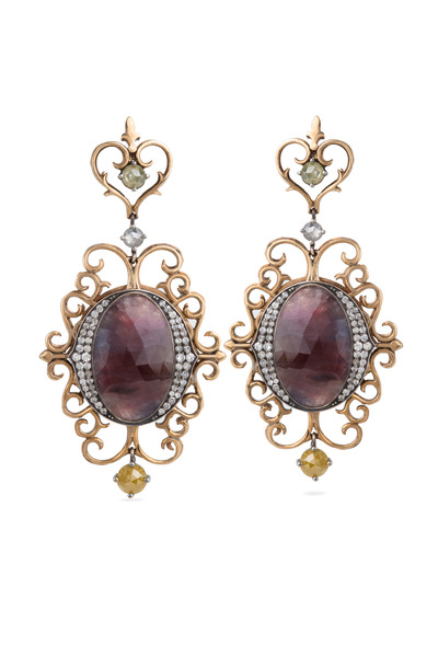 Bochic - Purple Sapphire Dangle Gold Earrings