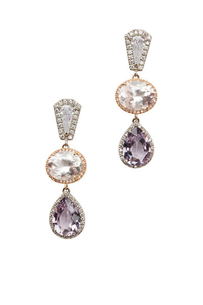Kathleen Dughi - Platinum Morganite, Diamond & Spinel Drop Earrings