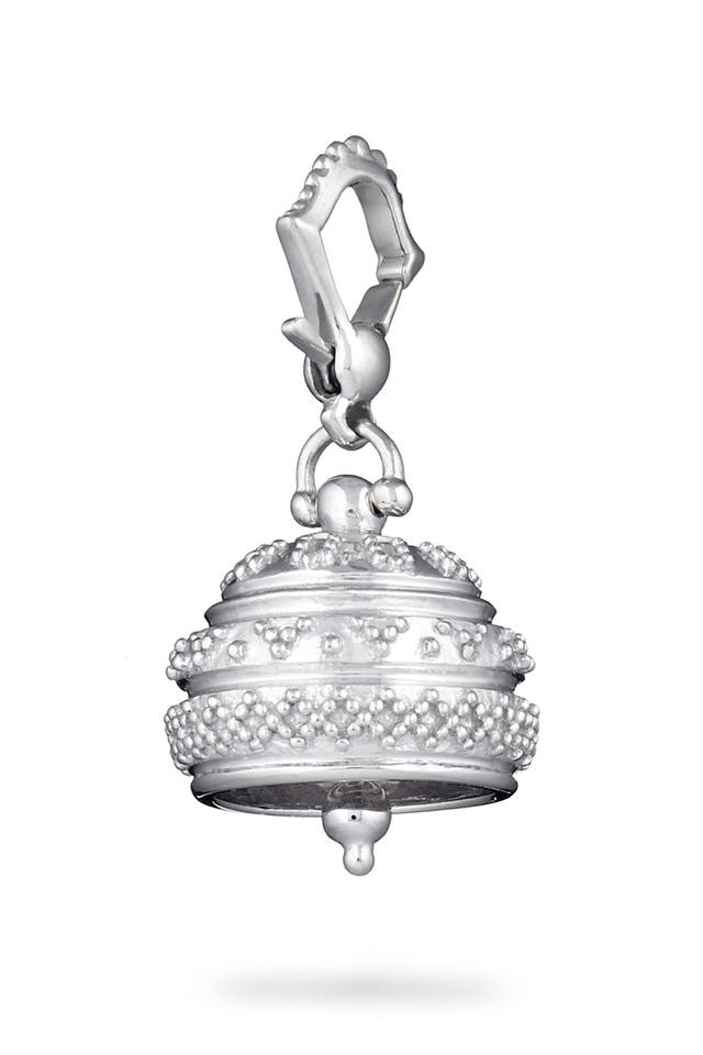 Meditation Bell Silver Granulated Pendant