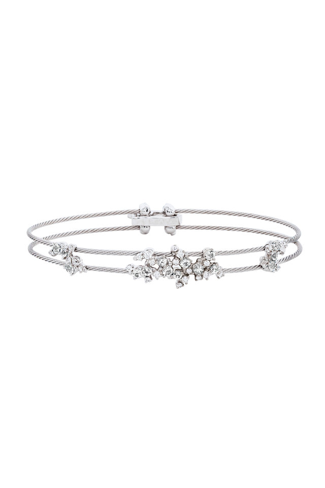 18K White Gold Diamond Double Wire Bracelet