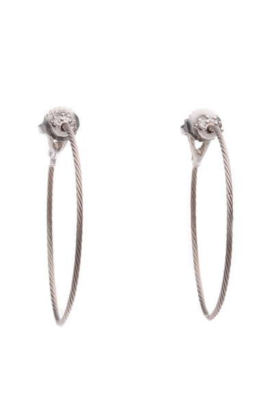 Paul Morelli - 18K White Gold & Diamond Accent Wire Hoops