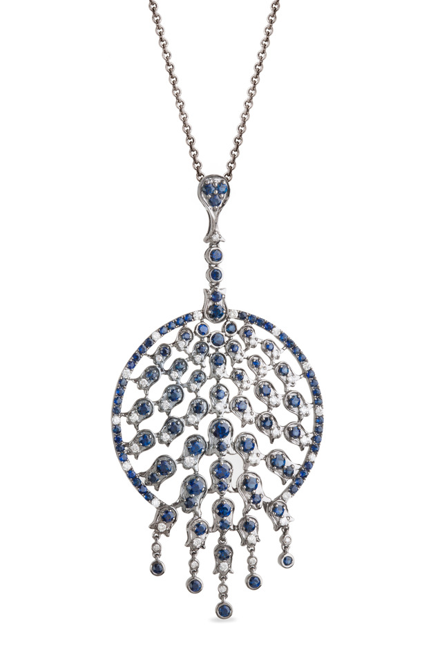 White Gold Blue Sapphire Peacock Pendant