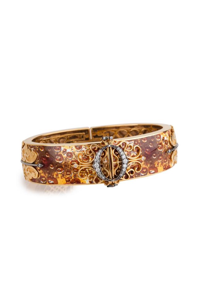 Diamond And Brass Enamel Gold Bangle