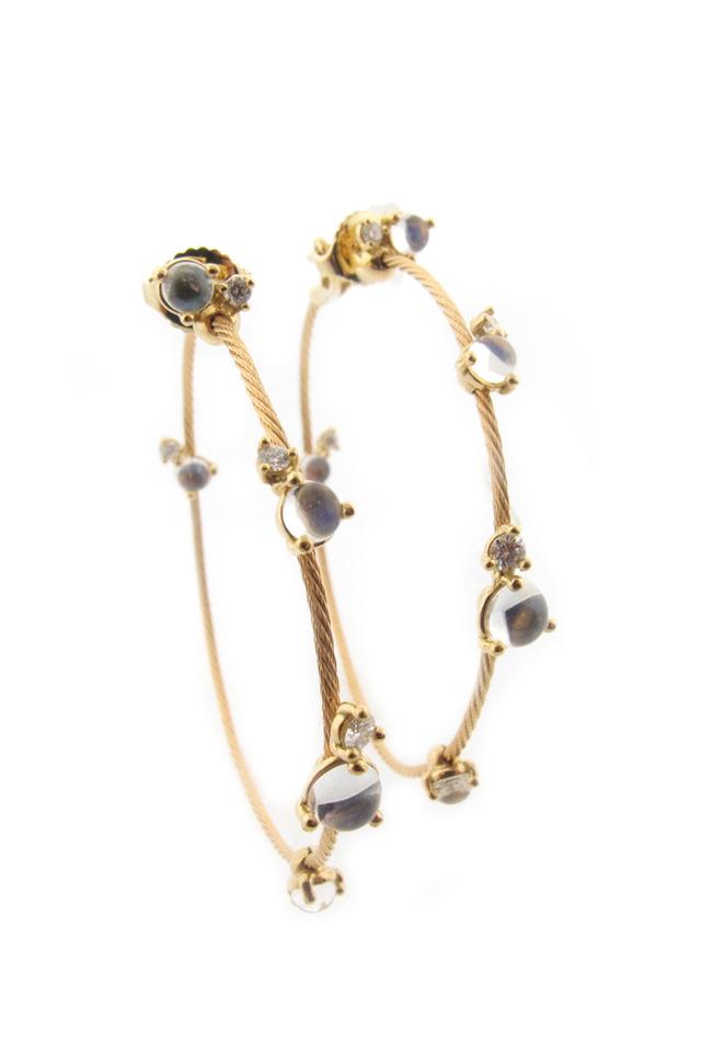 18K Yellow Gold Moonstone & Diamond Wire Hoops