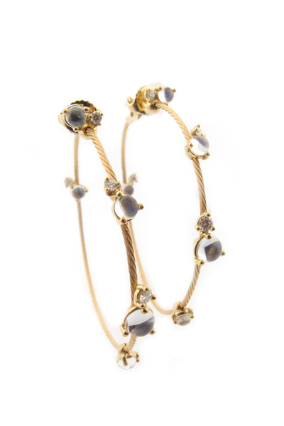 Paul Morelli - 18K Yellow Gold Moonstone & Diamond Wire Hoops