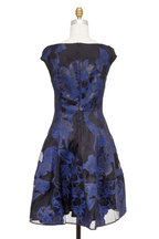 Talbot Runhof - Navy Blue Brocade Cap Sleeve Fit & Flare Dress