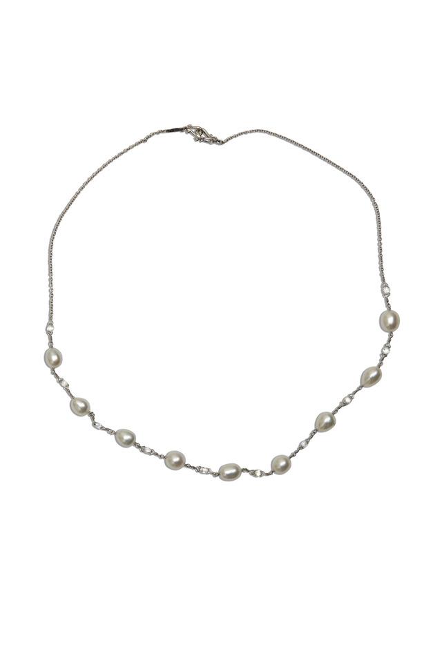 Platinum Keshi Pearl & Diamond Necklace
