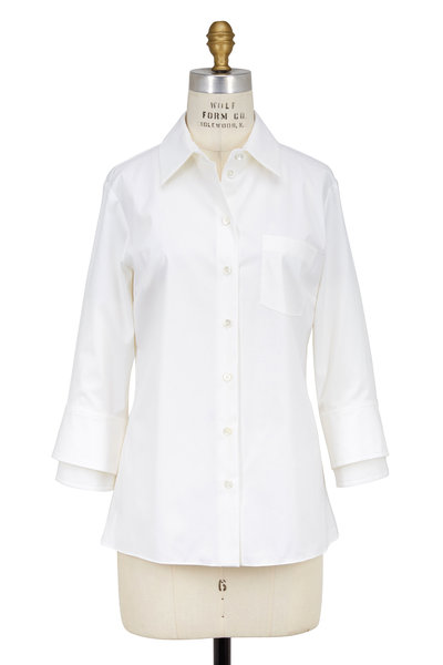 Michael Kors Collection - White Three-Quarter Sleeve Double-Cuff Blouse