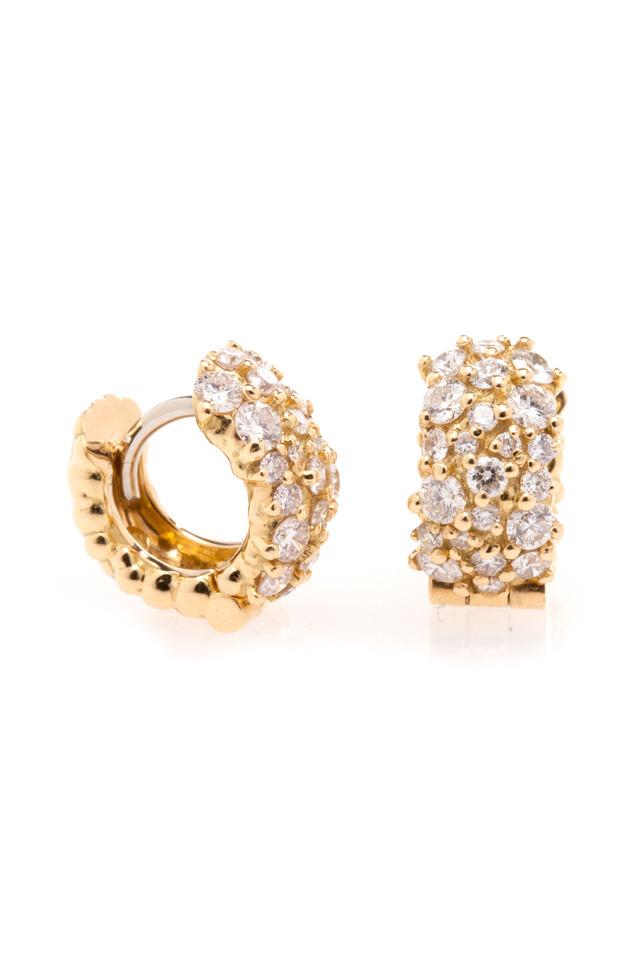 Yellow Gold Diamond Small Confetti Hoop Earrings