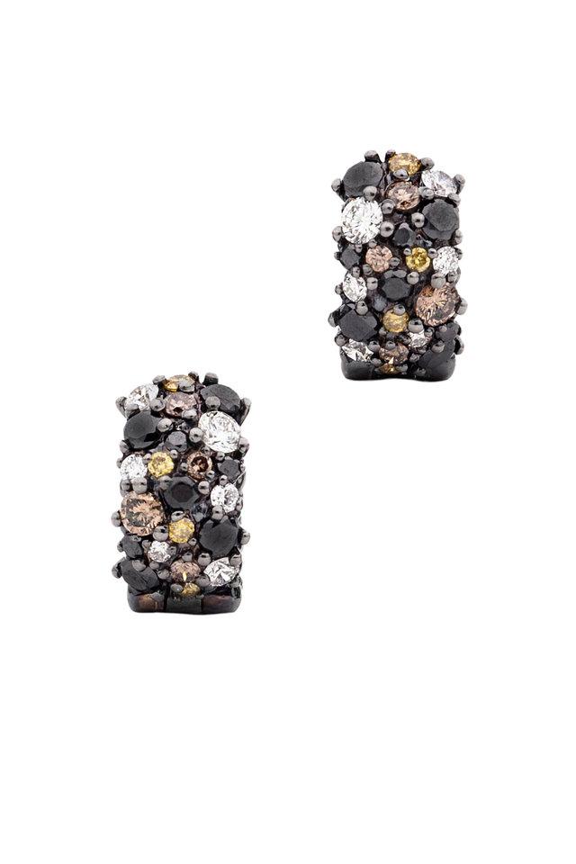 Black Diamond Huggie Earrings