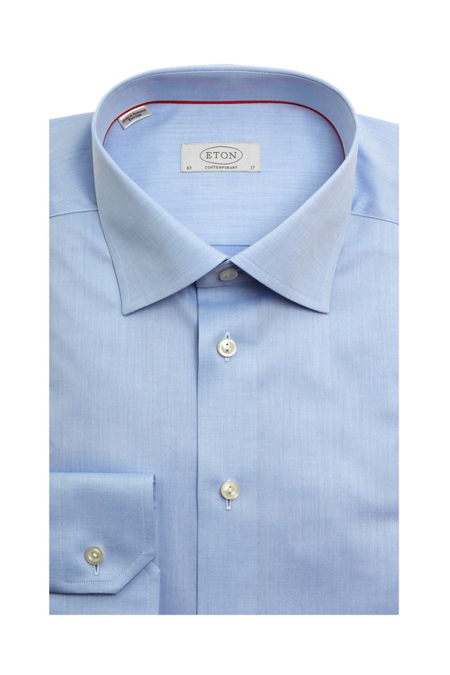 Blue Twill Contemporary Fit Dress Shirt