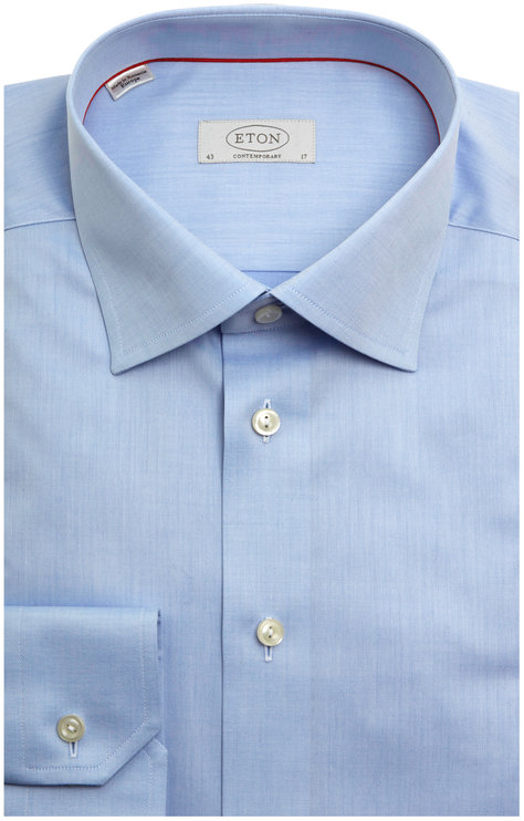 Eton Blue Twill Contemporary Fit Dress Shirt