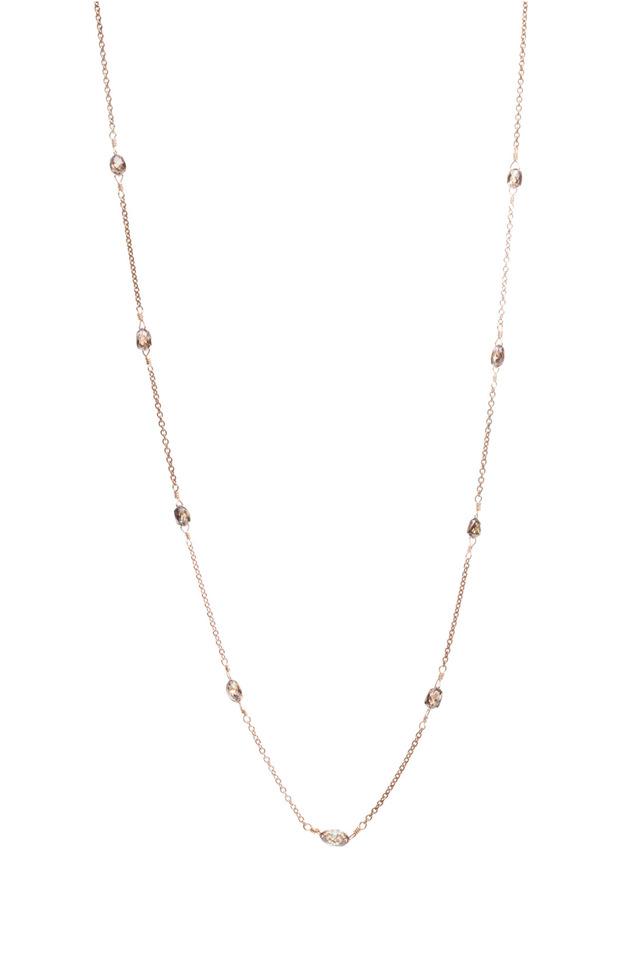 Pink Gold Cognac Diamond Bead Chain Necklace