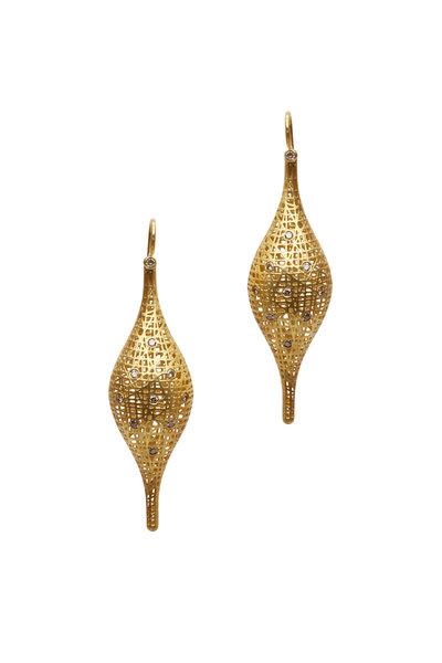 Yossi Harari - 18K Yellow Gold Lace Champagne Diamond Earrings