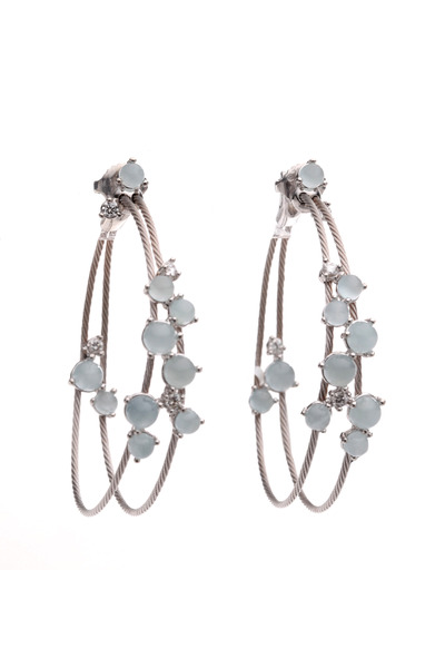 Paul Morelli - White Gold Aqua Double Wire Hoop Earrings