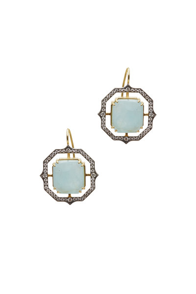 Sylva & Cie - Gold & Platinum Aquamarine Diamond Dangle Earrings