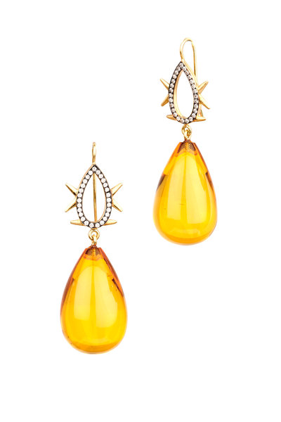 Sylva & Cie - Yellow Gold Amber Drop Diamond Earrings