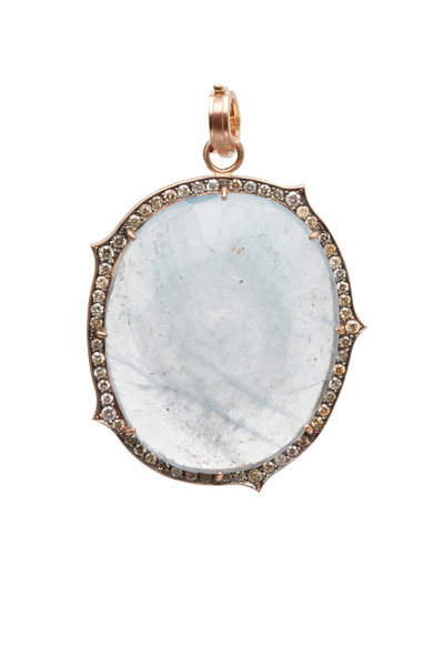 Sylva & Cie - Rose Gold Aquamarine & Diamond Pendant