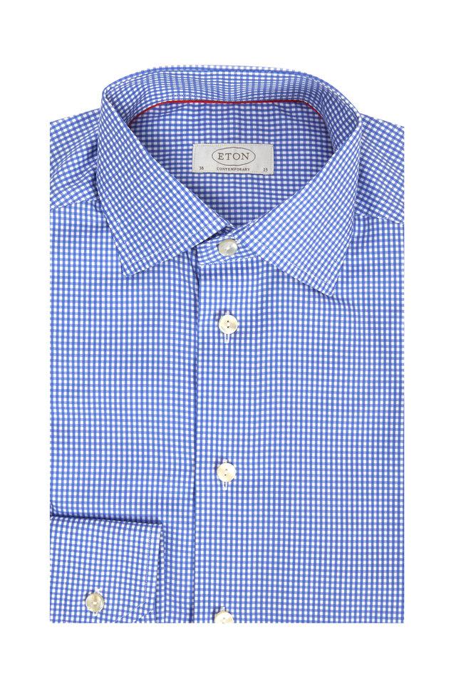 Blue Check Contemporary Dress Shirt