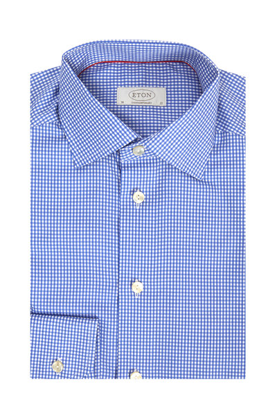 Eton - Blue Check Contemporary Dress Shirt
