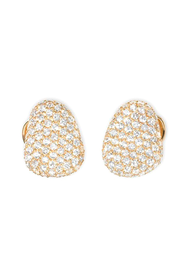 Yellow Gold Diamond Pebble Earrings