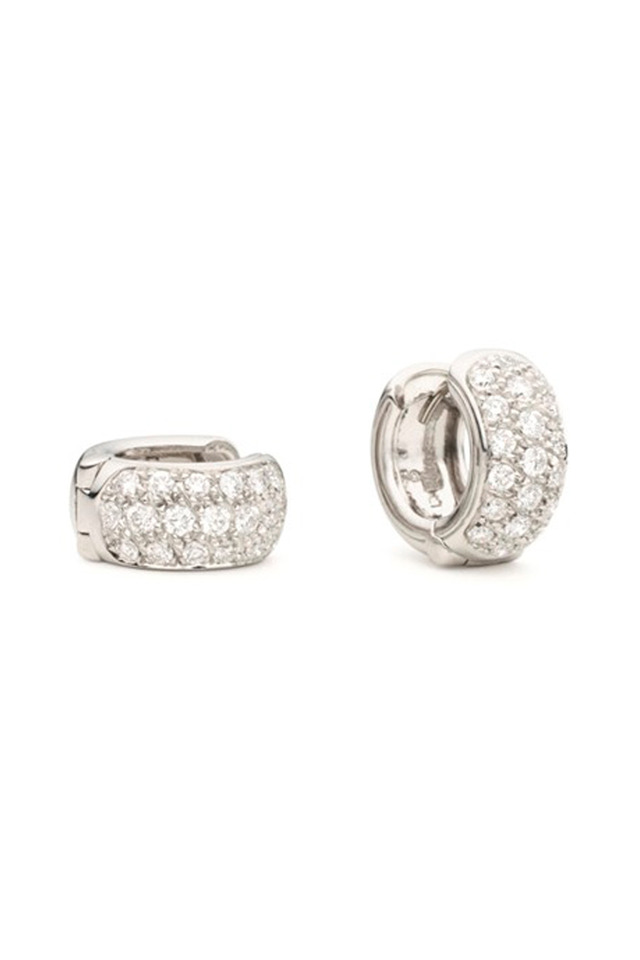 White Gold Mini Snap Diamond Huggie Earrings