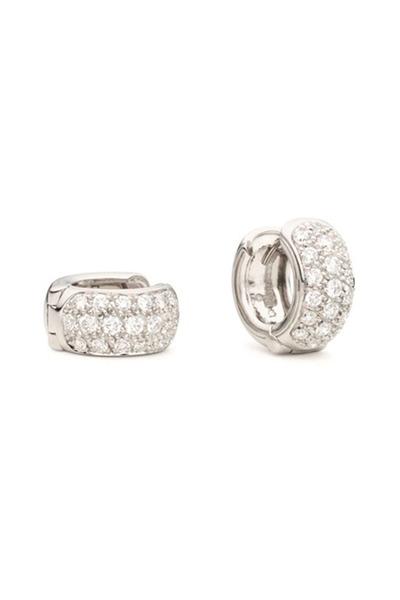 Paul Morelli - White Gold Mini Snap Diamond Huggie Earrings