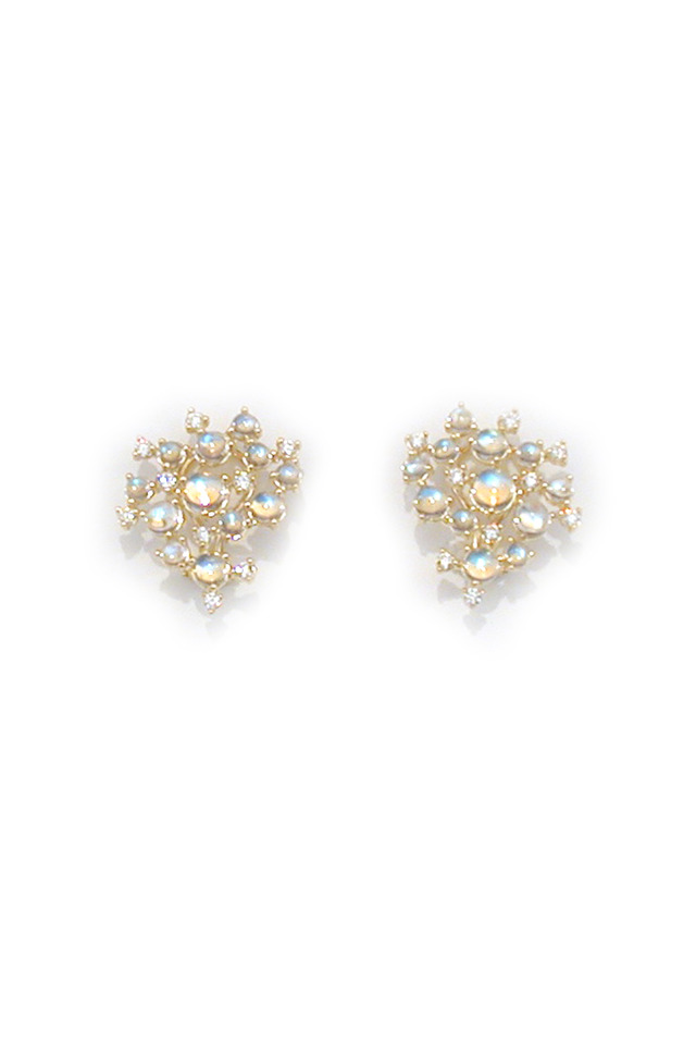 18K Yellow Gold Blue Moonstone & Diamond Earrings