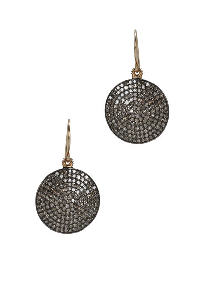 Dana Kellin - Gold Round Pavé Diamond Earrings