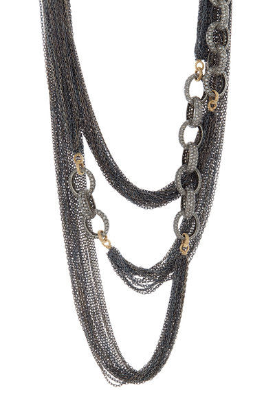 Dana Kellin - Gold & Silver Long Pavé-Set Diamond Chain Necklace