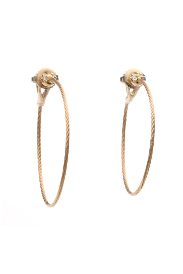 Yellow Gold Wire Diamond Hoop Earrings