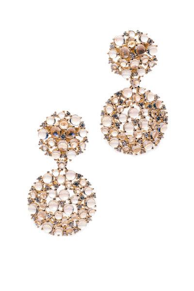 Paul Morelli - Gold Moonstone Diamond Lagrange Dangle Earrings
