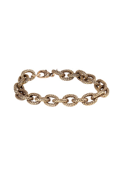 Sylva & Cie - Yellow Gold Textured Link Bracelet
