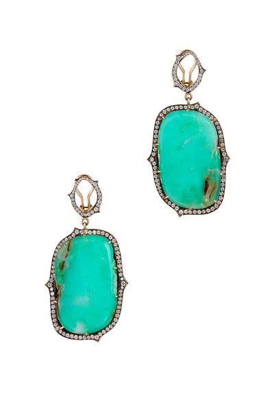 Sylva & Cie - Yellow Gold Chrysoprase Diamond Earrings