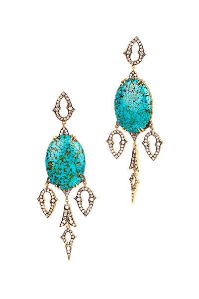 Sylva & Cie - 18K Gold Kingman Turquoise & Diamond Drop Earrings