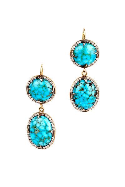 Sylva & Cie - 18K Yellow Gold Turquoise & Diamond Drop Earrings