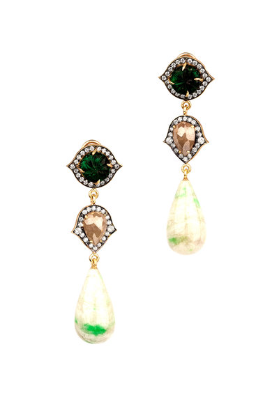 Sylva & Cie - Yellow Gold Vesuvian Diamond Drop Earrings