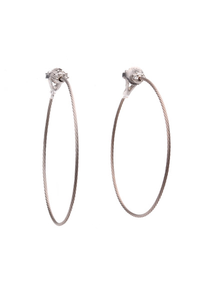 Paul Morelli - White Gold Diamond Wire Hoop Earrings