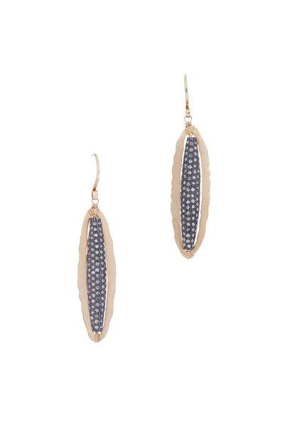 Dana Kellin - Gold Oval Pavé Diamond Earrings