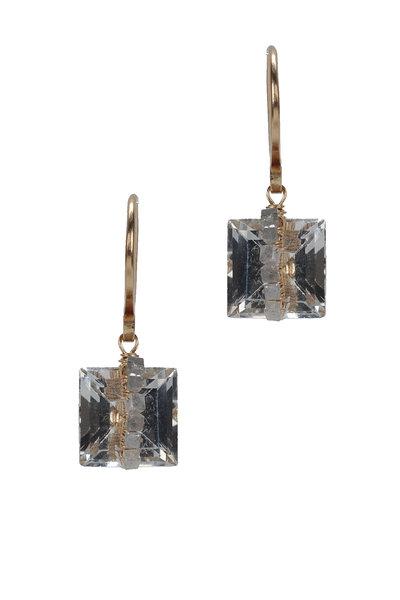 Dana Kellin - Yellow Gold Square White Topaz Diamond Earrings