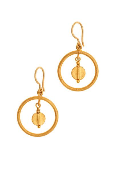 Yossi Harari - Yellow Gold Butterfly Round Dangle Earrings